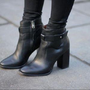 Madewell black leather heeled boots